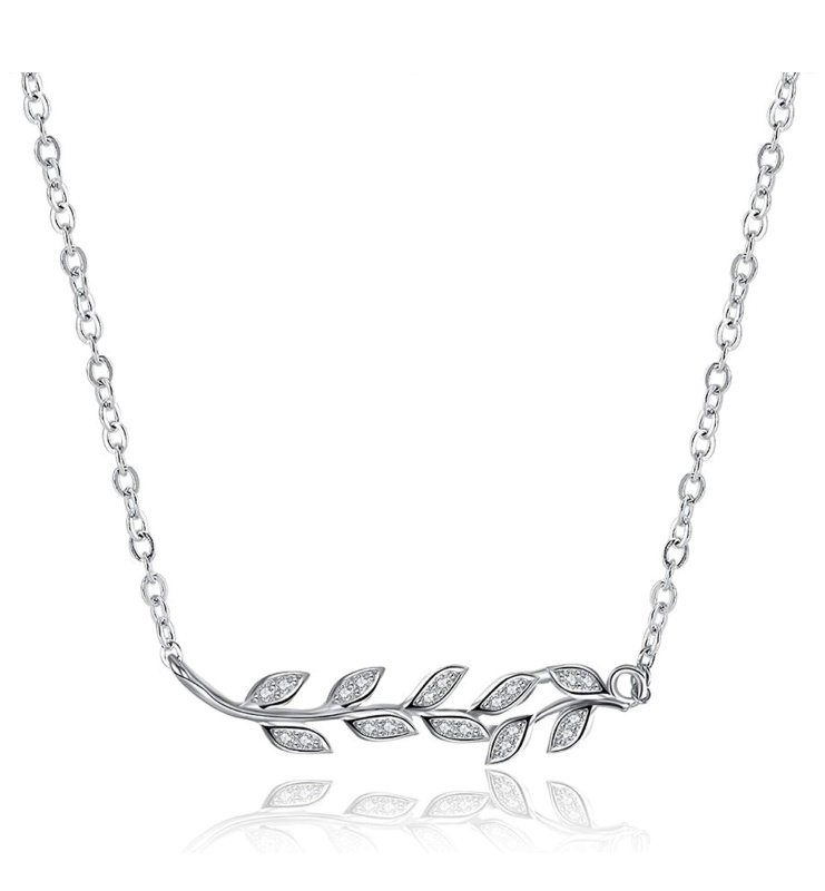 CZ Leaf Necklace, Sterling Silver Pendant just $7.64 on Amazon!