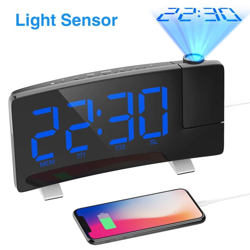 Projection Alarm Clock with Curved Screen Large Digital Display – just $14.79 on Amazon!