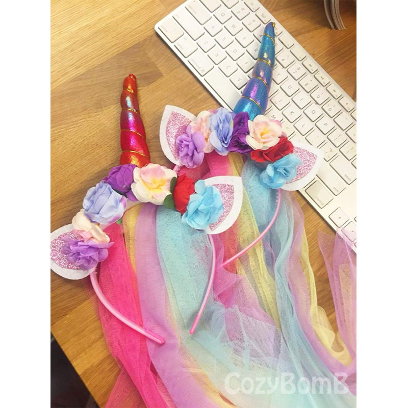 Rainbow Unicorn Headband with Tulle Mane, pack of 2 – $8.99 on Amazon!