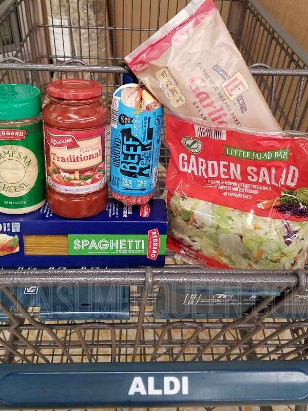 Spaghetti Dinner for Four + Leftovers Under $10 at Aldi!
