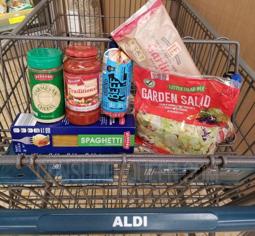 spaghetti dinner for four at aldi
