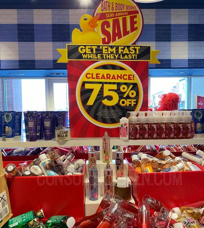 75% off body care at bath & body works