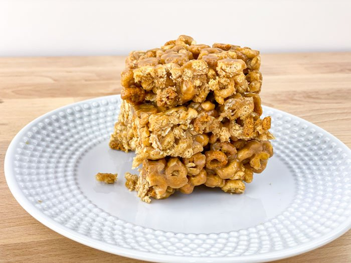 Peanut Butter Oat Crunch Bars stacked