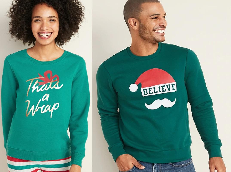 old navy holiday crew sweatshirts