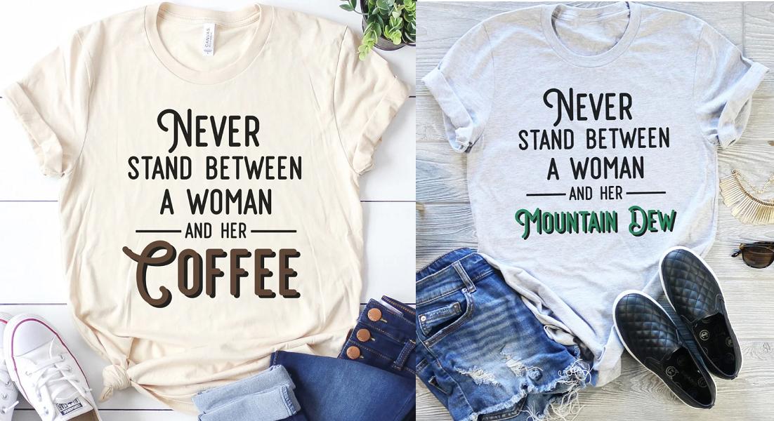caffeine woman tees