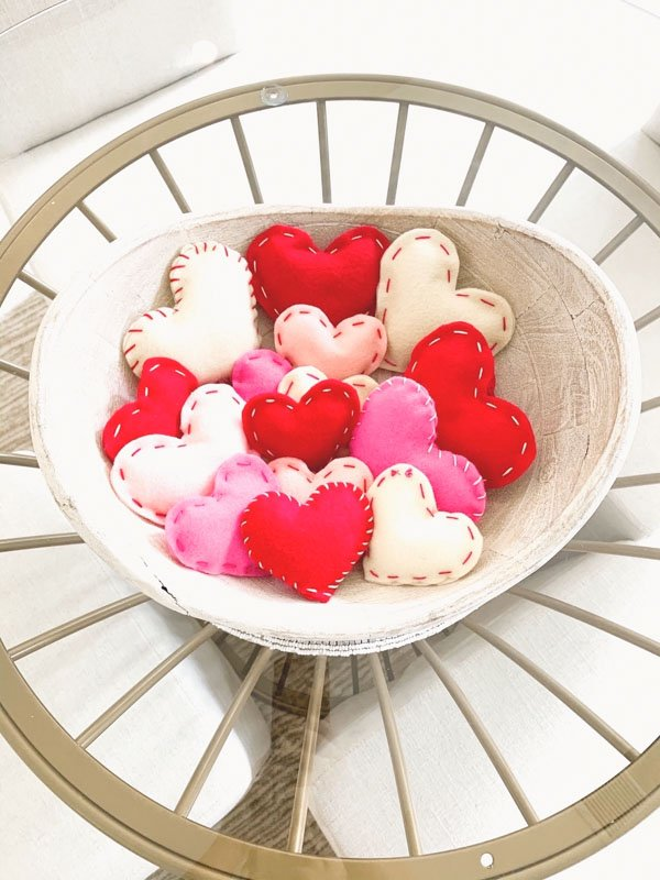 Finished hearts in basket