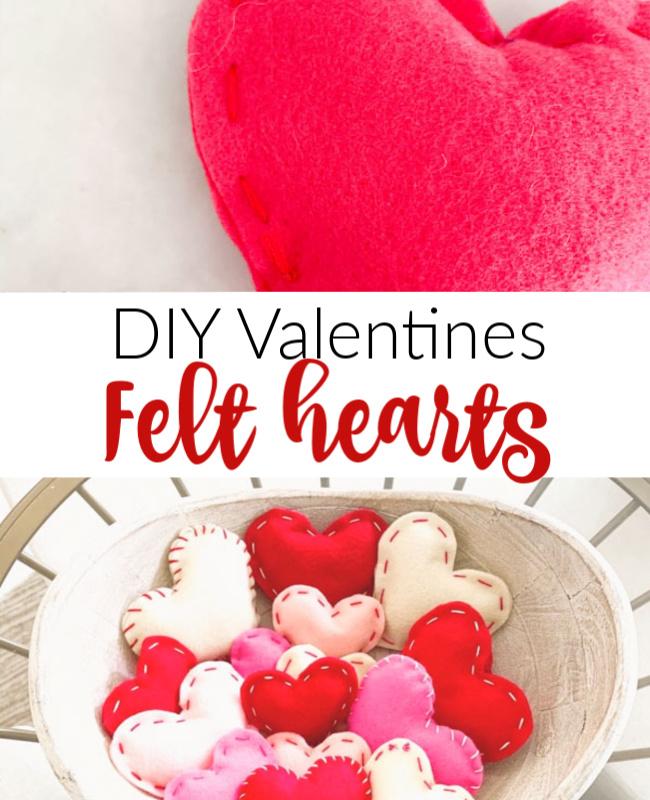 DIY Valentines Felt Hearts Pinterest
