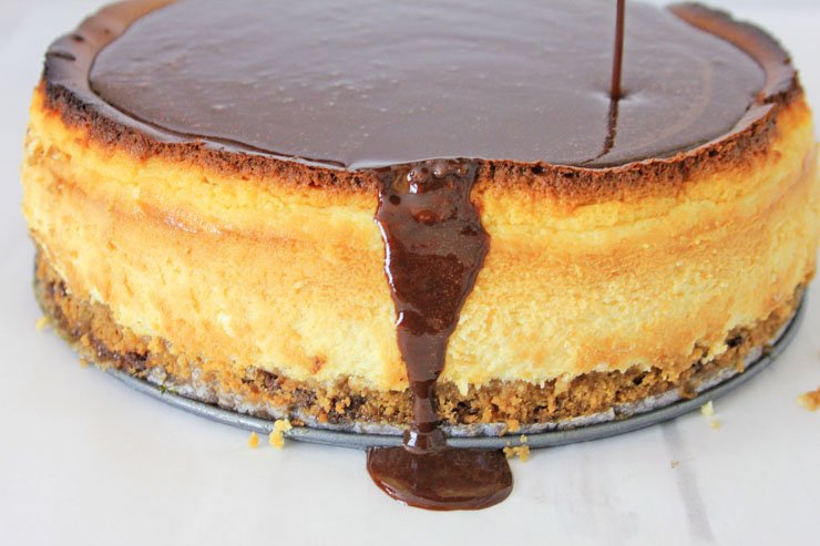 Chocolate chip cookie dough cheesecake chocolate topping