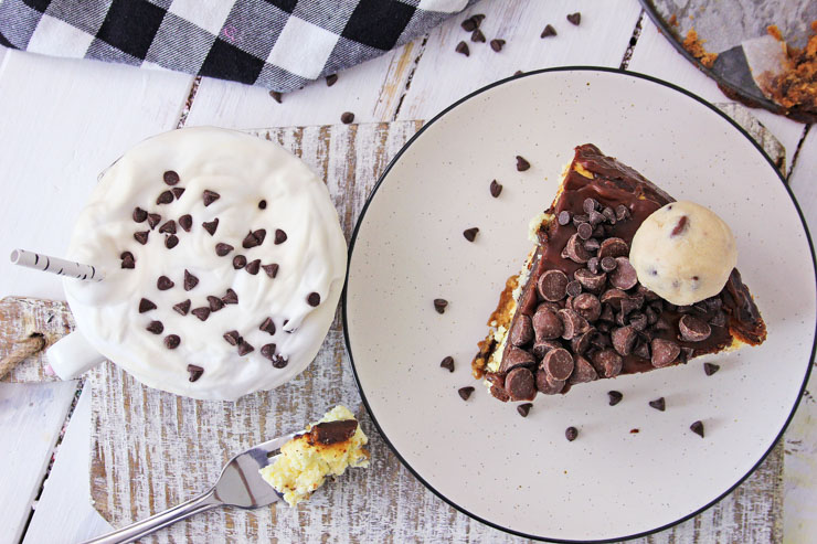 chocolate chip cookie dough cheesecake top view