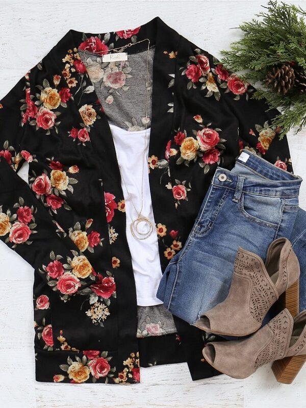 floral pocket cardigan