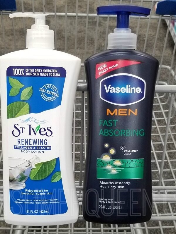 vaseline for men & st. Ives lotion