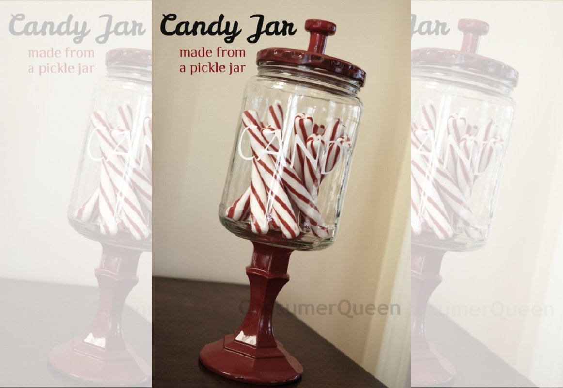 Make a Trendy Candy Jar from an old pickle jar!