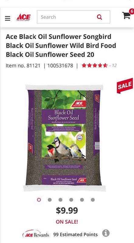 sunflower wild bird seed at ACE