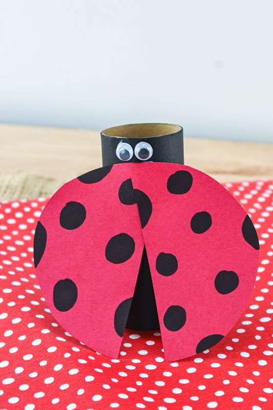 Toilet Paper Roll Lady Bug with eyes