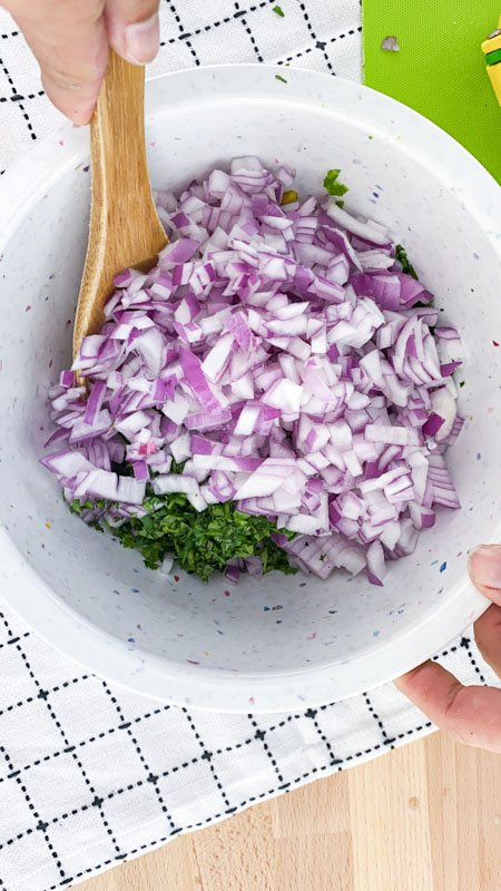 Mix Onion with Black Bean Salsa