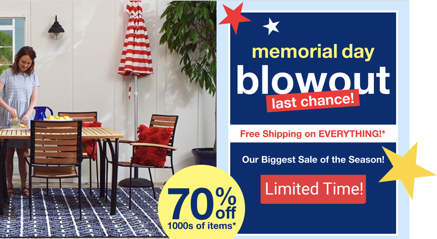 Overstock Memorial Day Sale – 70% Off + FREE Shipping on ALL Orders!