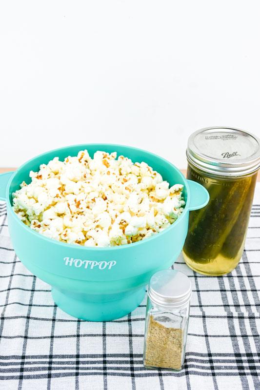 Dill Pickle Popcorn in bowl