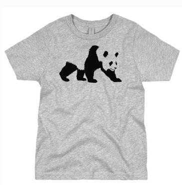 Customized Girl - Custom Tee Shirt with Panda, in Gray