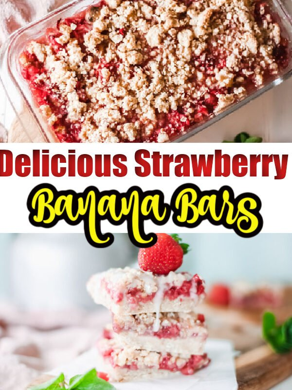 Strawberry Crumble Bars with Bananas