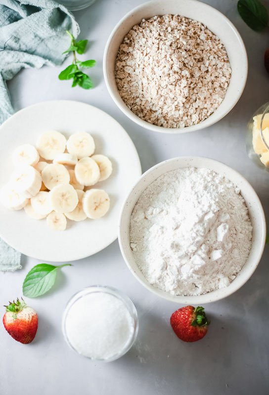 ingredients for Strawberry Crumble Bars