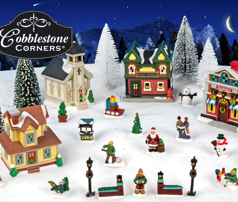 2020 Cobblestone Village Christmas Cobblestone Corners Christmas Village 27 Pieces Only $13 at Dollar