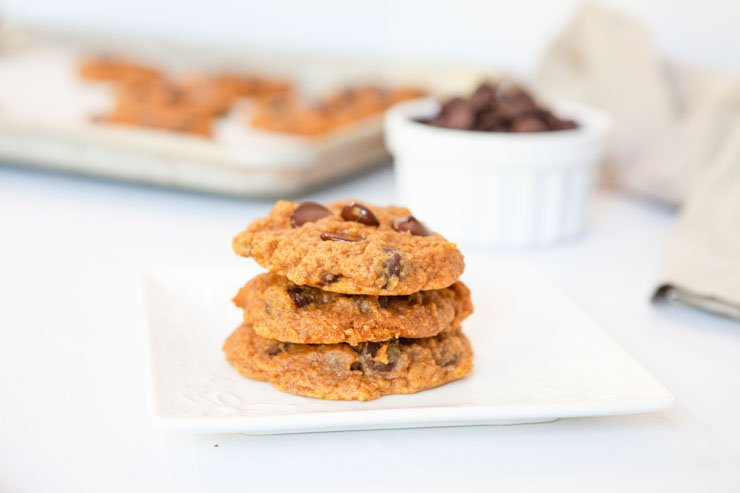 Pumpkin chocolate chip cookies plated