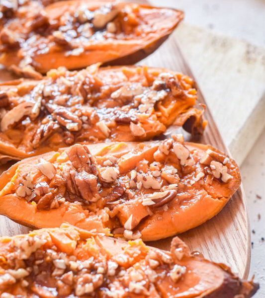 Sweet Potato Boats with Maple