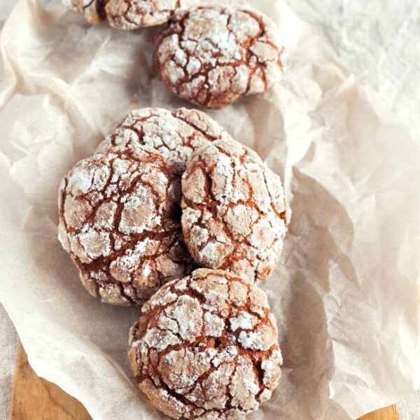 Chocolate Crinkle Cookies in a row
