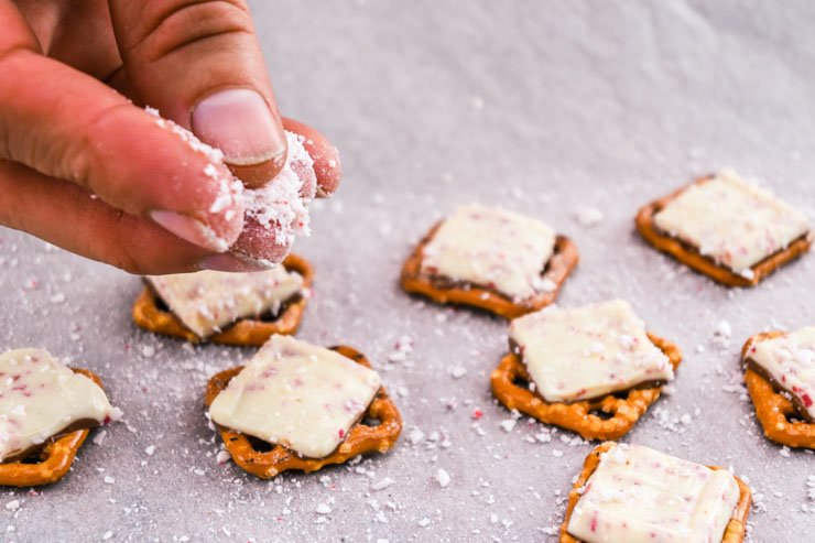 sprinkle peppermint on top of Ghirardelli squares