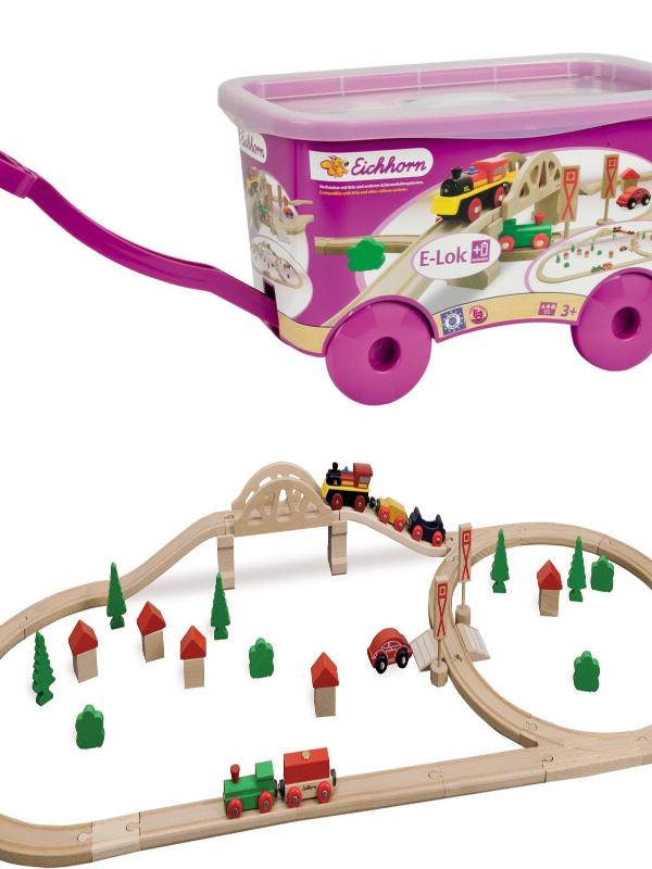 55 Piece Wooden Train Set with Bridge & Storable Wagon $24.97 (Reg. $80!)
