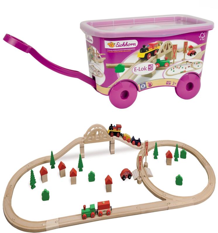55 Piece Wooden Train Set