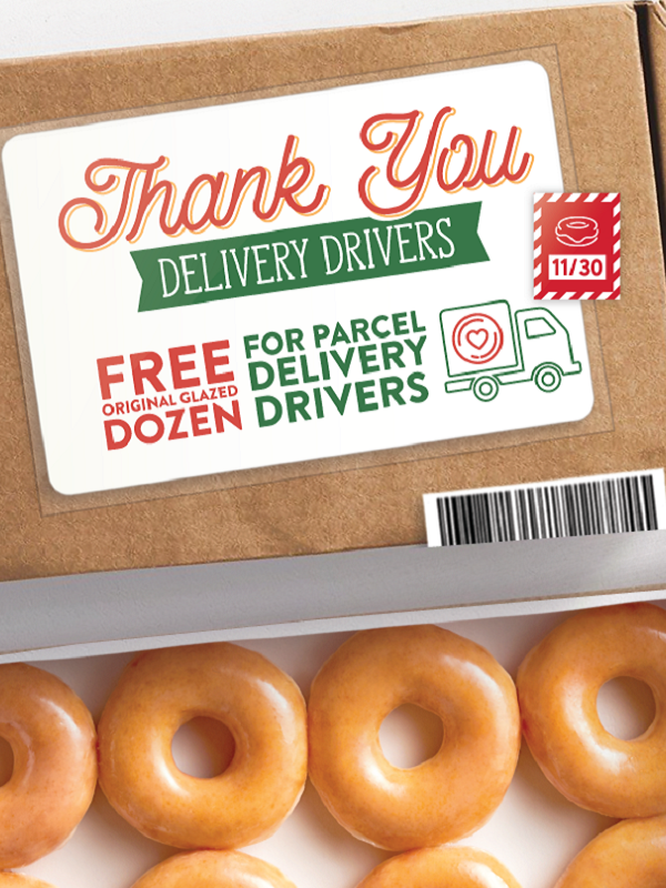 FREE Krispy Kreme Glazed Dozen for Delivery Drivers Coming!
