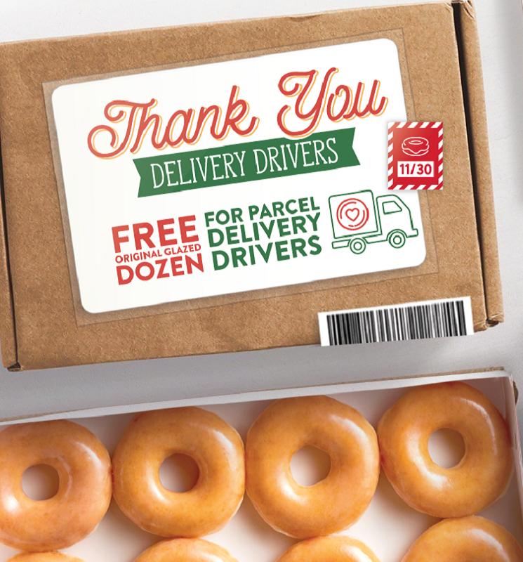FREE Krispy Kreme Glazed Dozen for Delivery Drivers