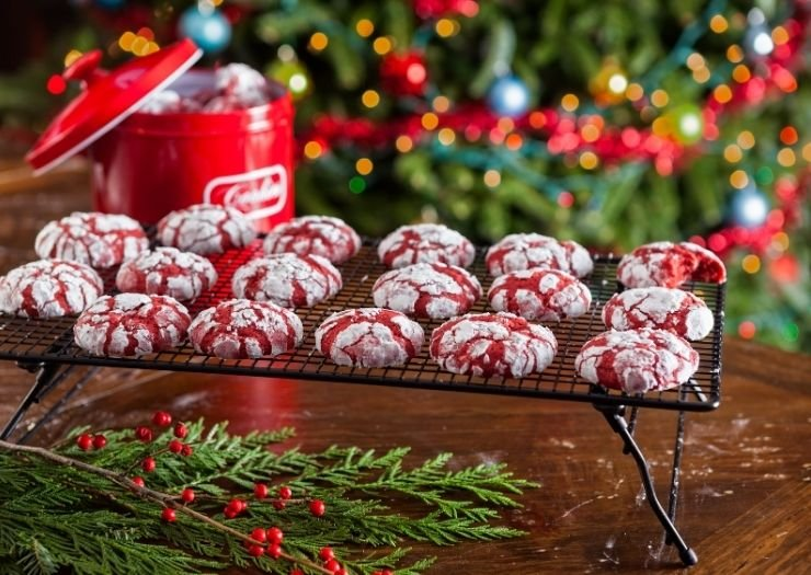 Red Velvet Crinkle Cookies Christmas