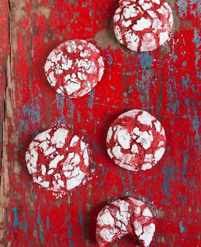 Red velvet Crinkle Cookies from cake mix