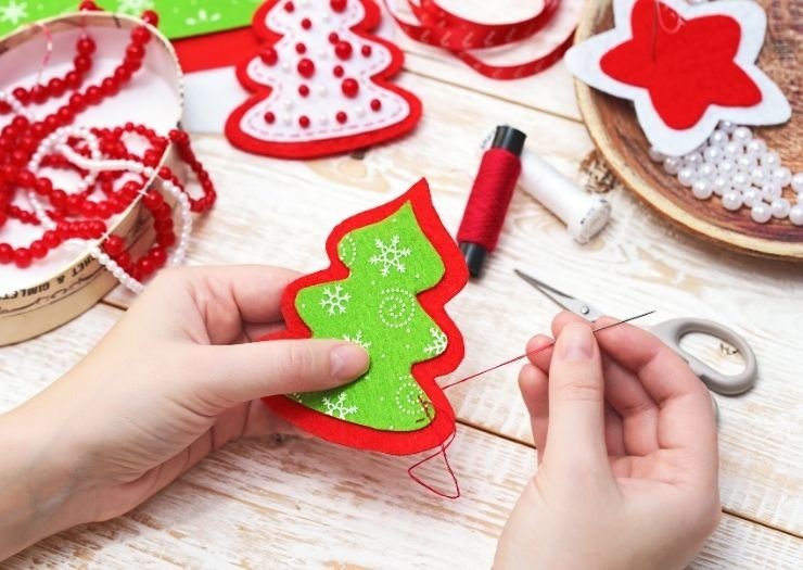 Start to sew Christmas ornament
