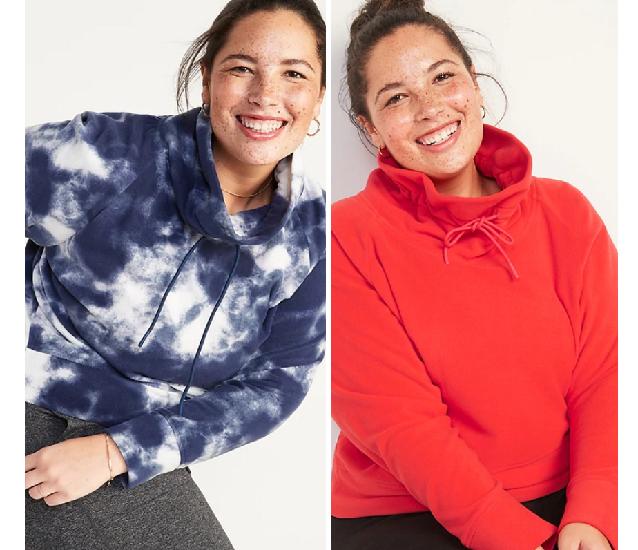 womens plus size tunnel neck fleece sweatshirts
