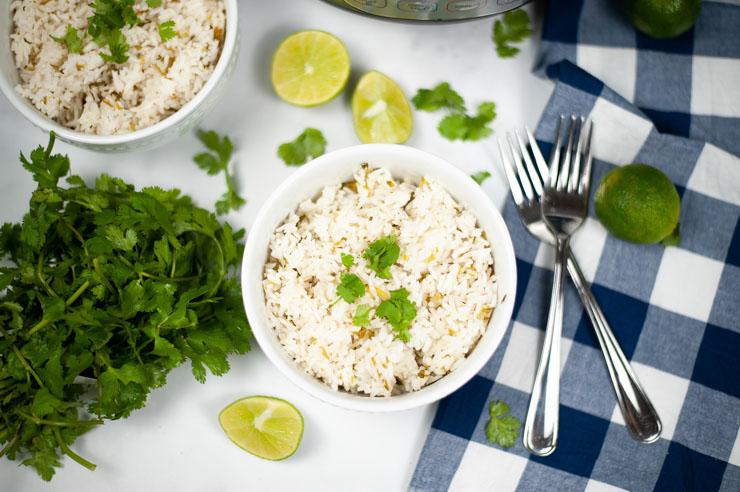 Instant Pot Cilantro Lime Rice Above Shot