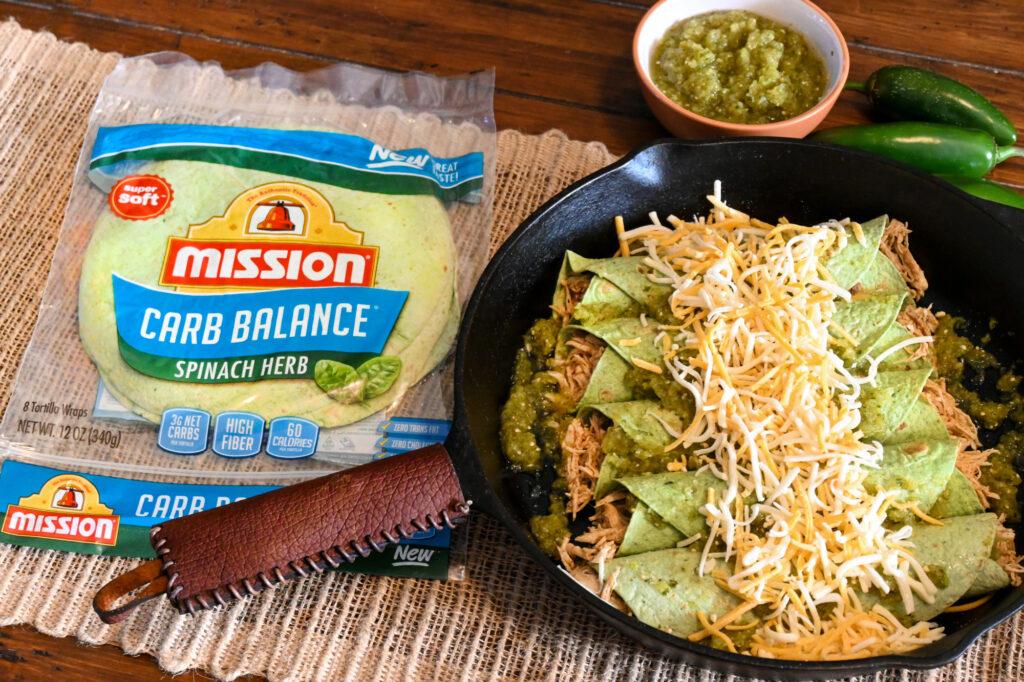 Low Carb Chicken Enchiladas in Progress