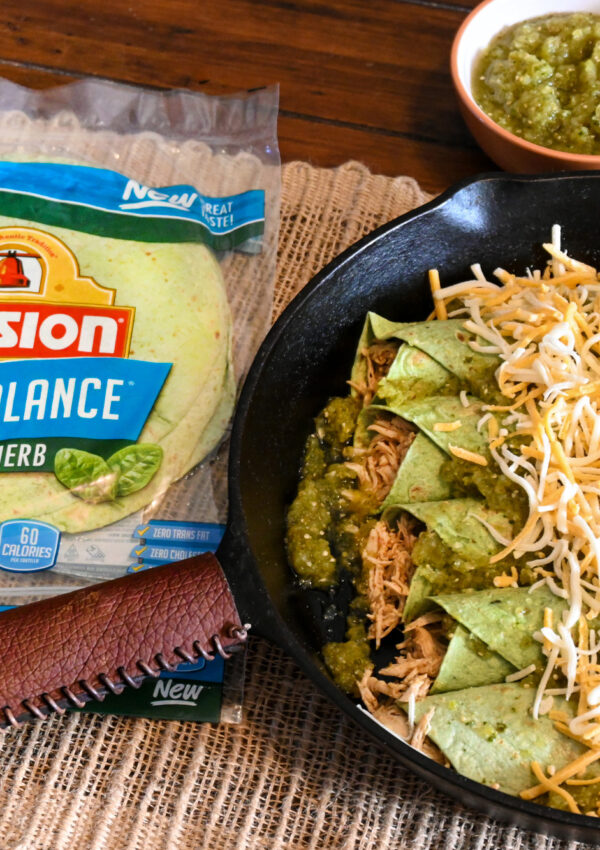 Low Carb Chicken Enchiladas with Mission® Carb Balance Spinach Herb Tortilla Wraps