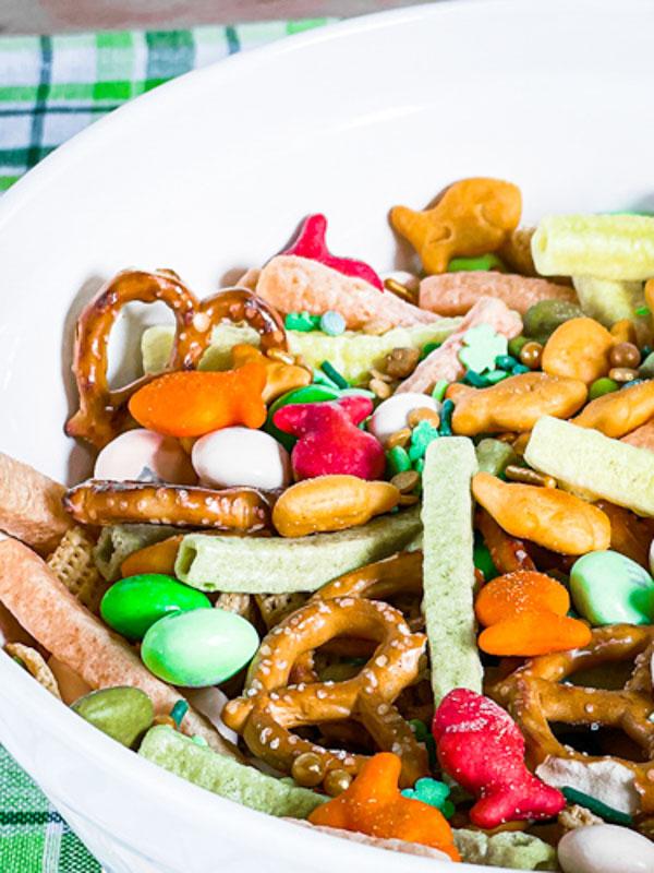 Pot of Gold Snack Mix up close -St. Patrick's Day Snacks