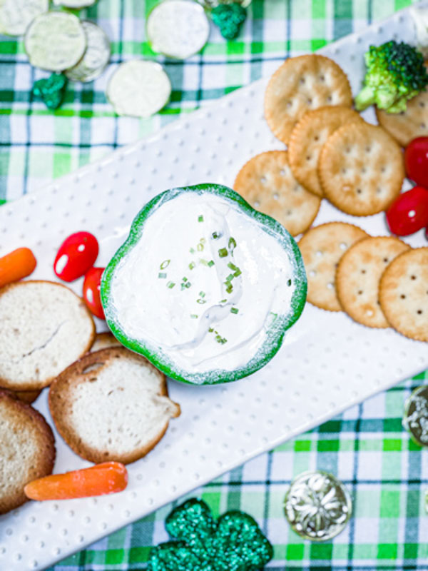 veggie dip plated with veggies and crackers