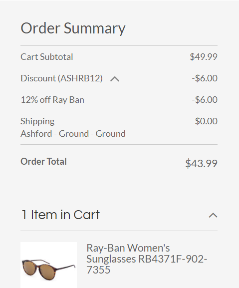 Ray-Ban receipt