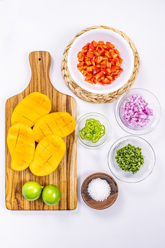 Mango salsa for salmon- ingredients plated
