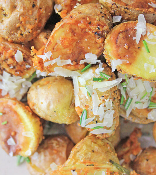 Air fryer rosemary parm potatoes close up