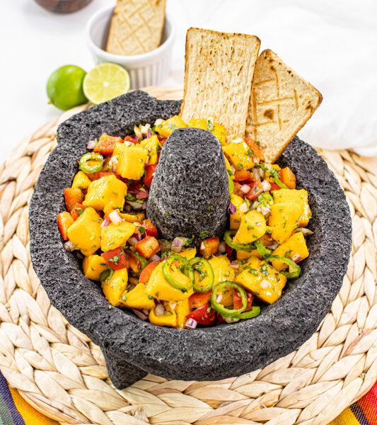 Mango salsa in bowl