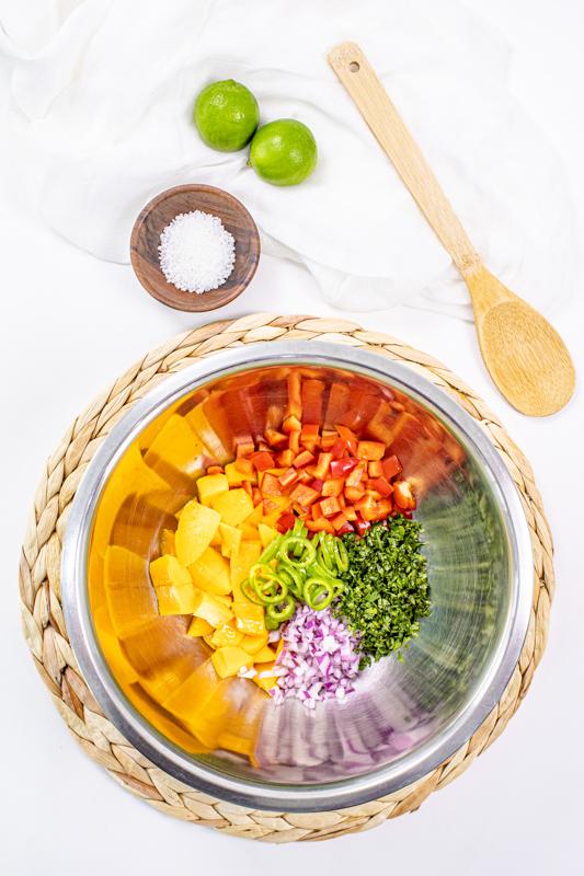 Mango salsa ingredients chopped