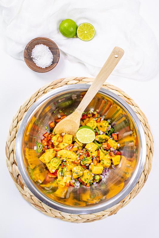 Mango salsa for salmon  ingredients mix