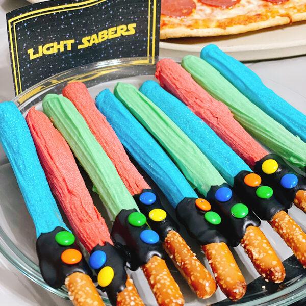Lightsaber pretzel rods in party mode