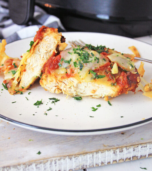 Air fryer chicken parmesan plated with air fryer